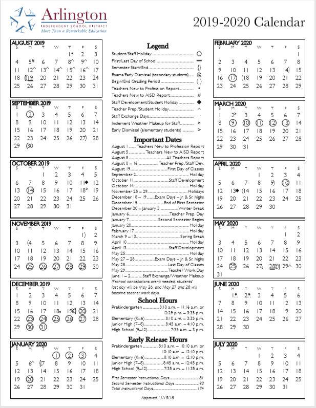 Arlington Isd Calendar 2020 Arlington ISD School Calendar 2019 2020   Sureguard Termite & Pest