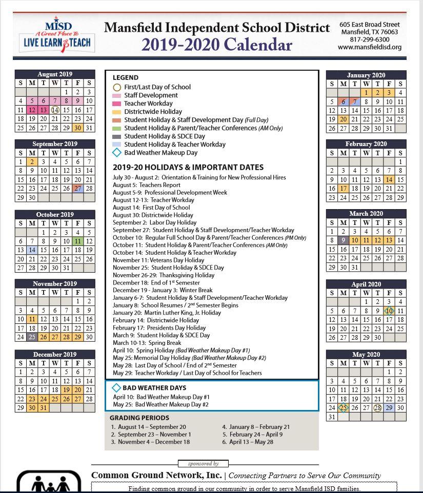 Mansfield ISD School Calendar 2019 2020   Sureguard Pest Control