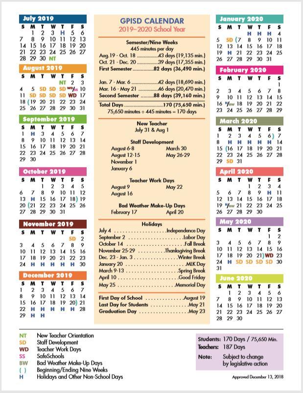 Gisd Calendar 2021 Garland ISD School Calendar 2019 2020   Sureguard Pest Control